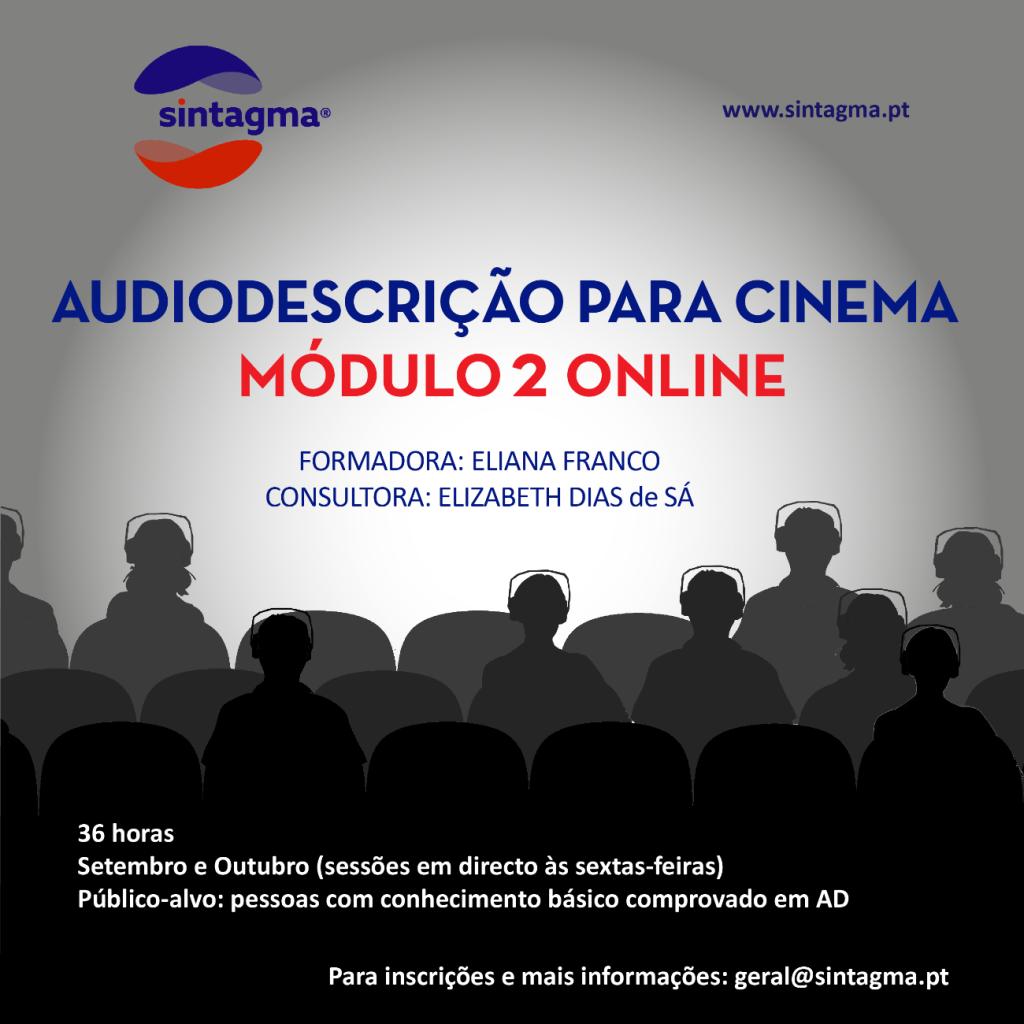 Cartaz do Módulo 2 de Audiodescrição para Cinema